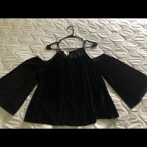 Black Velvet Off The Shoulder Long Sleeve